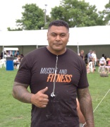Afa Paea from Manukau approves of the Counties Strongman competition.