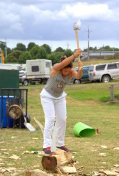 Axwoman Mikhayla Tainui-McLean swings the axe to victory.