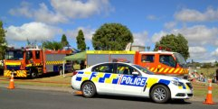 Pukekohe volunteer fire service and local police.